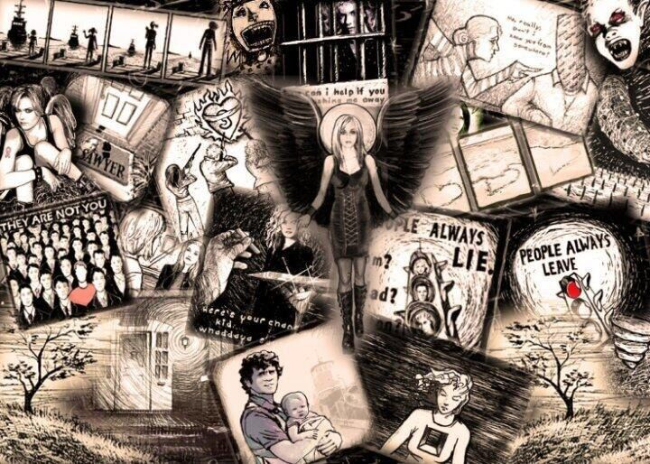 Collage of Peyton's drawings