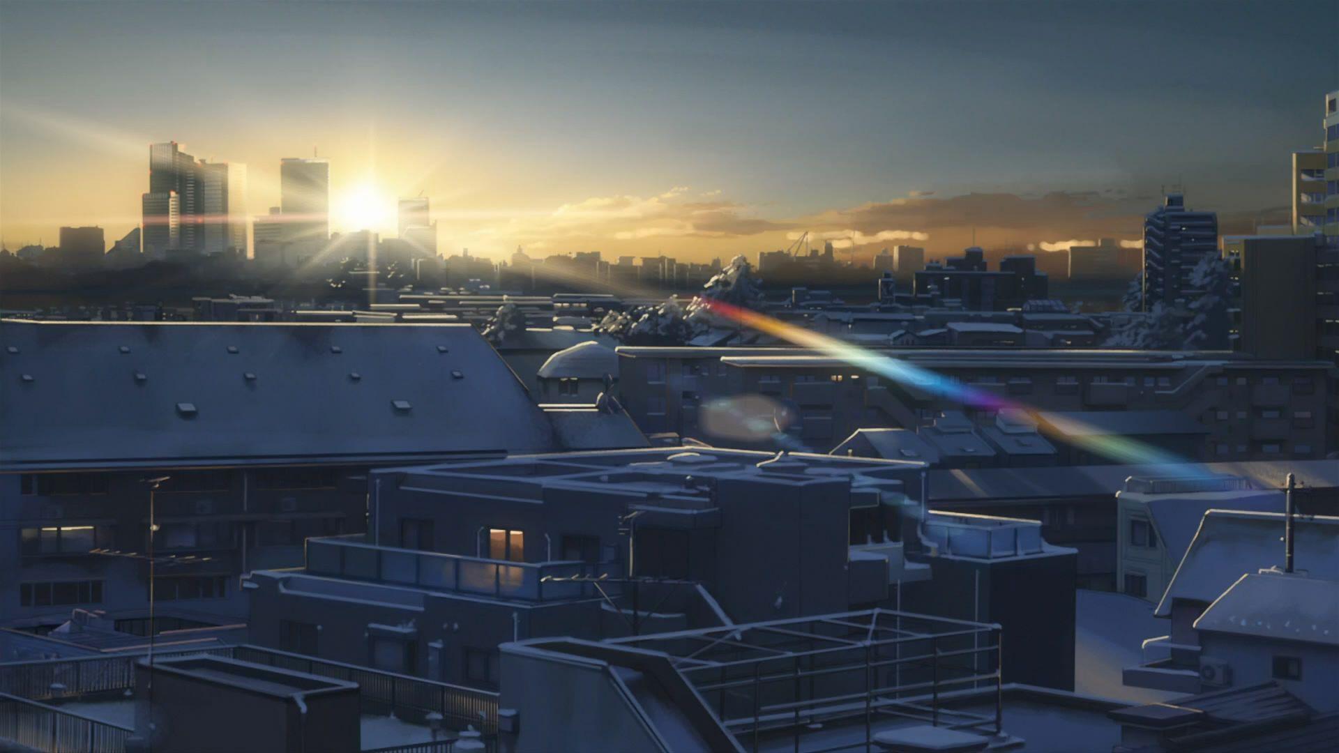 makoto shinkai snowy city Anime city, Scenery, City