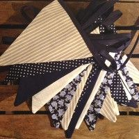 Navy cream and linen wedding bunting by Emma Bunting
