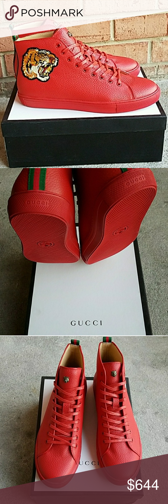 b0d8497ef80 Men s Gucci Tiger High-Top Leather Laced Sneakers Men s Gucci Appliqués Leather  High-Top Material  Calf Skin (Soft Leather) Color  Black Size  45 Item no.