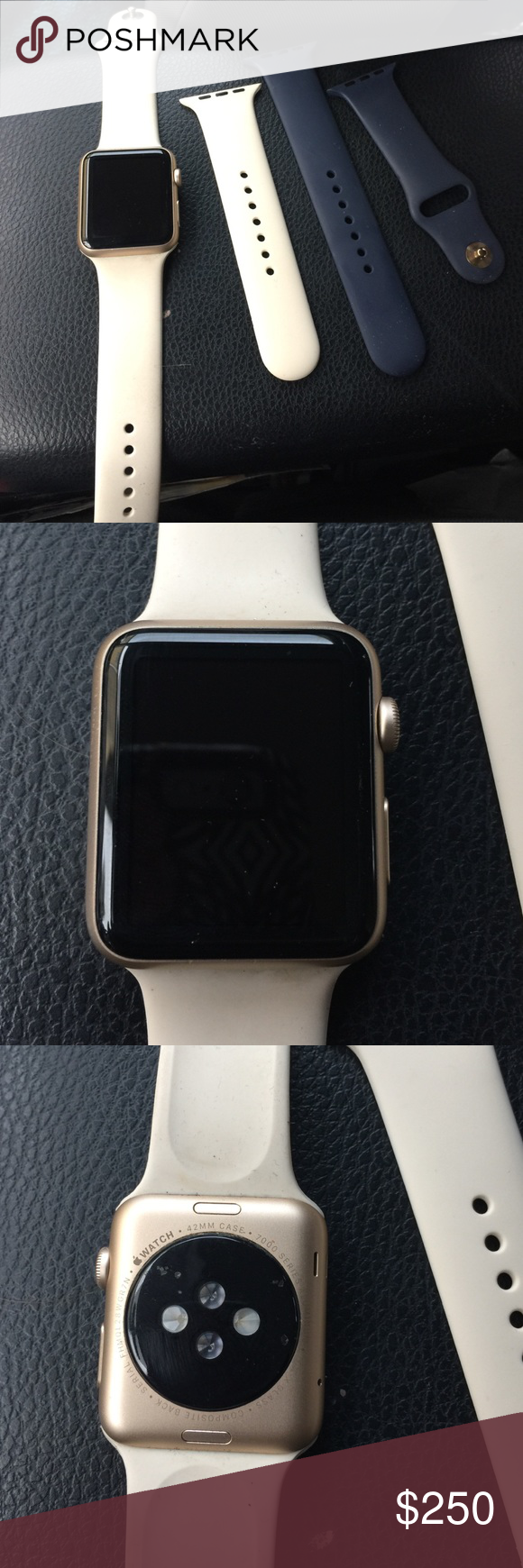 Brand new Apple Watch worn once Rose gold face 42mm Apple Watch with off white and navy blue bands with box Accessories Watches