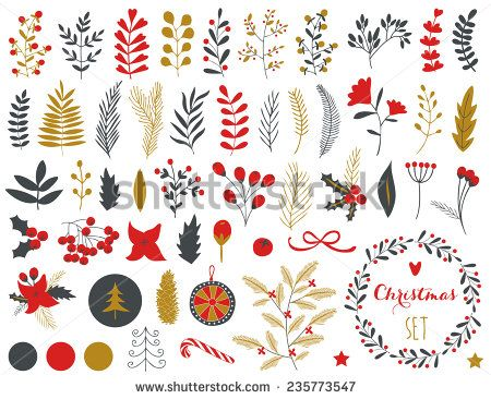 Photo of Collection Vintage Merry Christmas Happy New Stock Vector (Royalty Free) 235773547