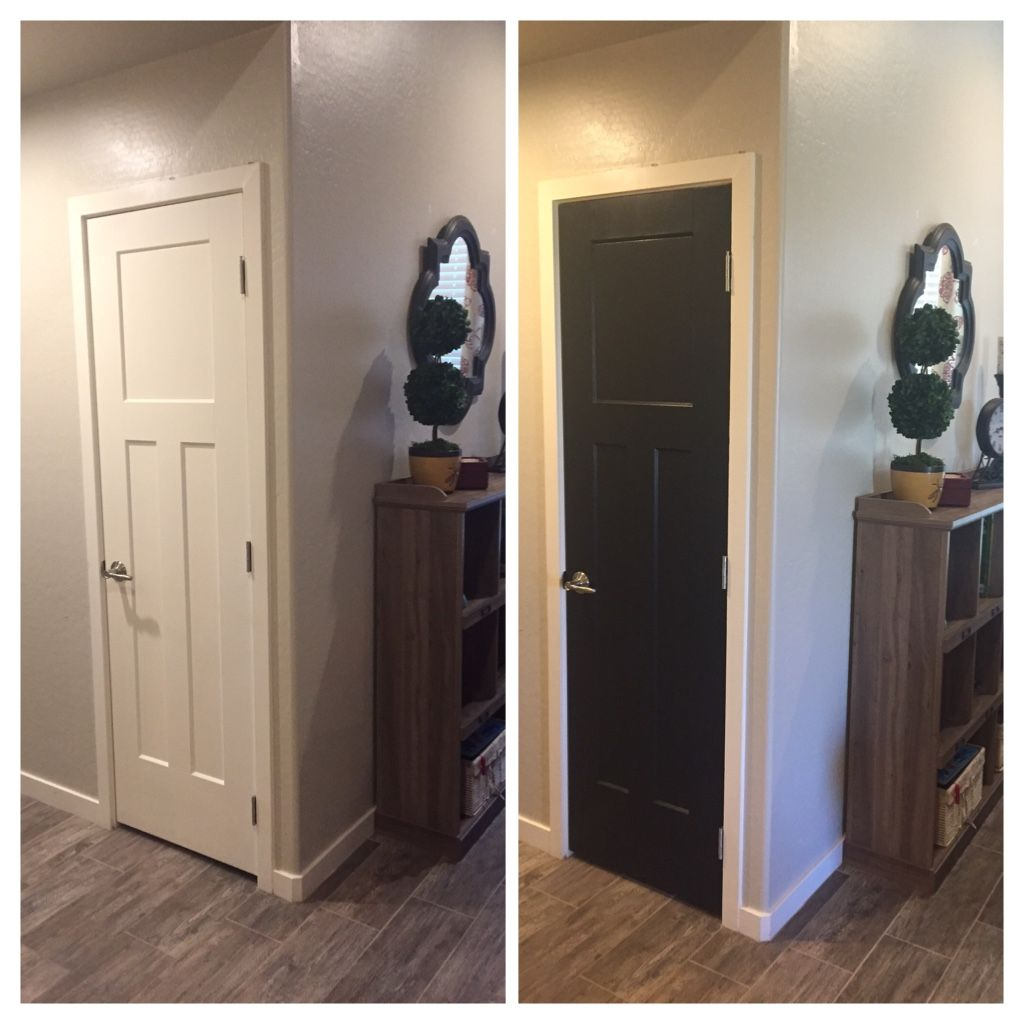 Paint Your Builder Grade Door With Sherwin Williams Tricorn Black To Create An Expensive Looking Door Black Appliances Kitchen Home Tall Cabinet Storage