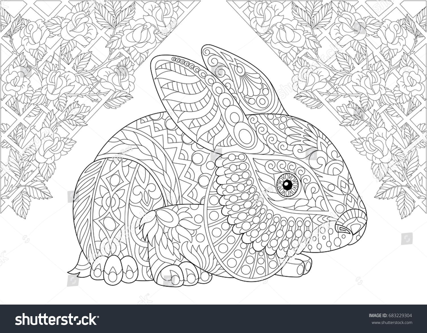 Coloring page rabbit from wonderland and rose flowers freehand