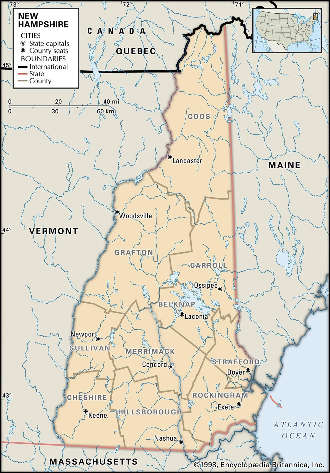 View free maps of New Hampshire including interactive county