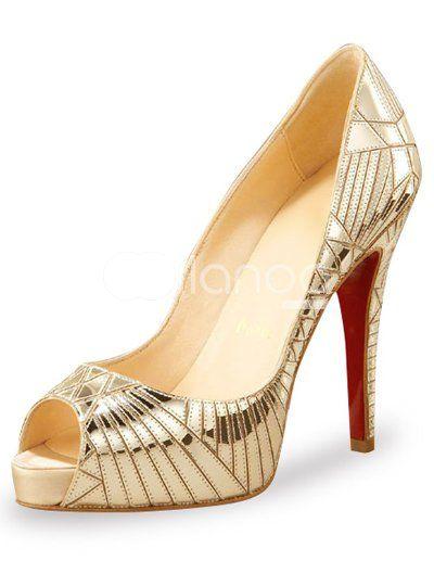 art deco gold peep toe