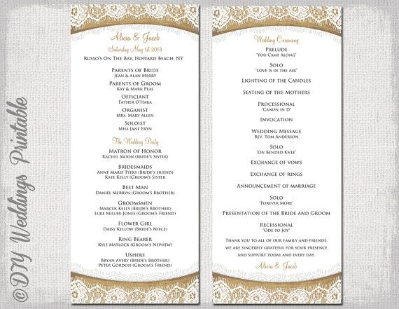 Rustic Wedding Program Template Burlap Lace Diy Ecru Order Of