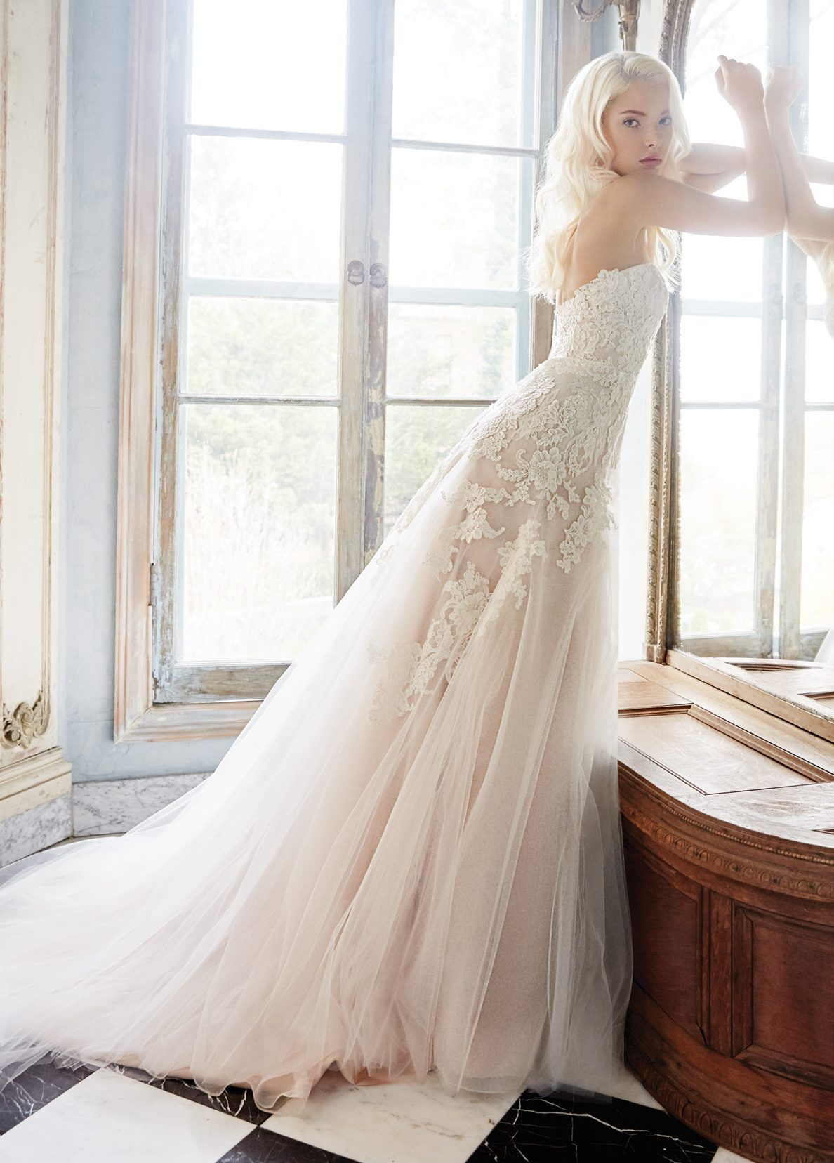 Ivory / Cashmere tulle modified A-line bridal gown with a sweetheart ...