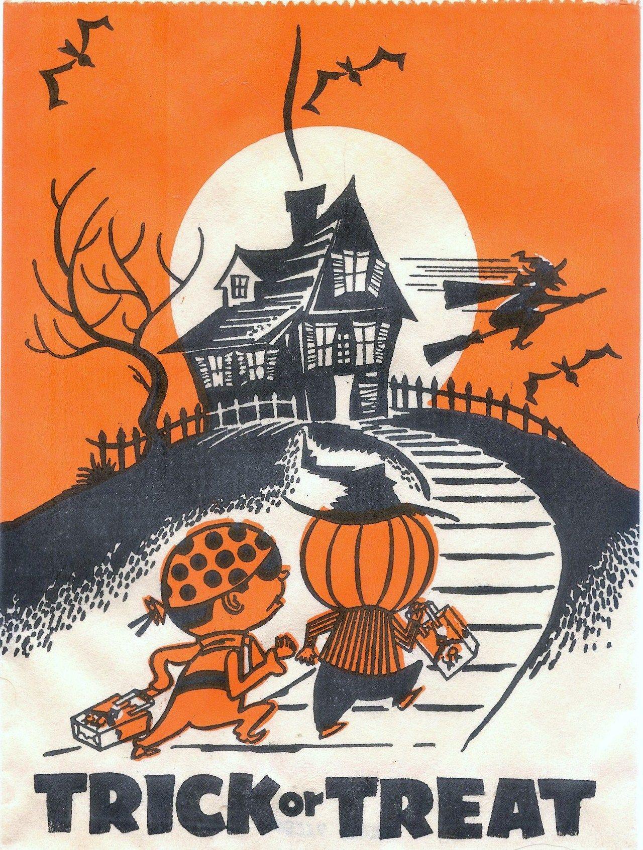 Trick or Treat Halloween candy bag. Vintage halloween