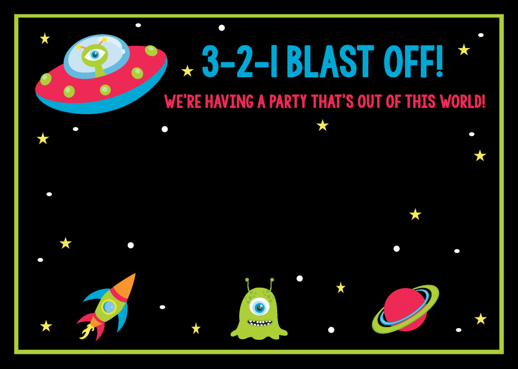 Space Themed Birthday Invitations Free Printable