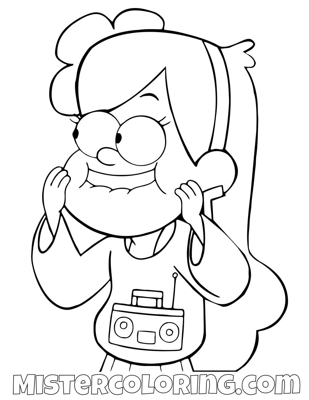 Mabel Pines Listening To Music Gravity Falls Coloring Pages For Kids Arco Iris Para Colorir Desenhos Gravity Falls