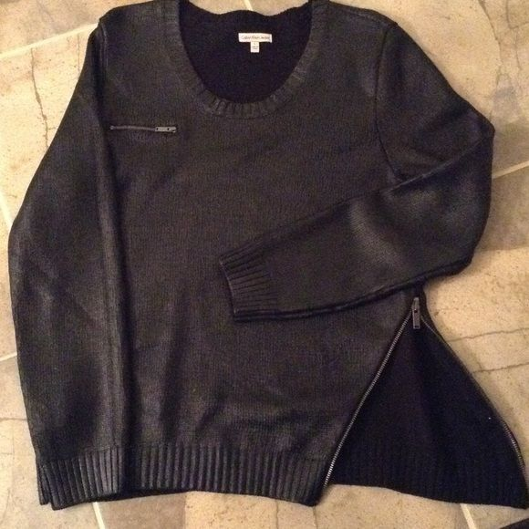 dfce89e4e Calvin Klein knit metallic black sweater NWOTS so unique with slant ...