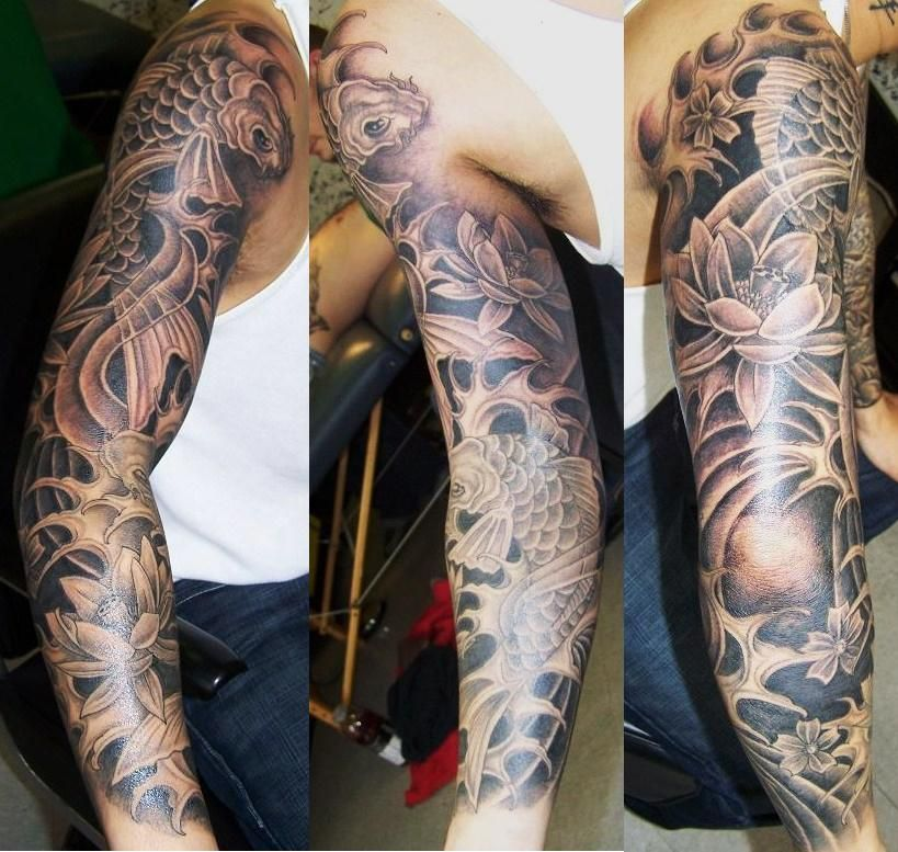 Koi fish sleeve by justinstorm on deviantart tattoos for Grey koi fish