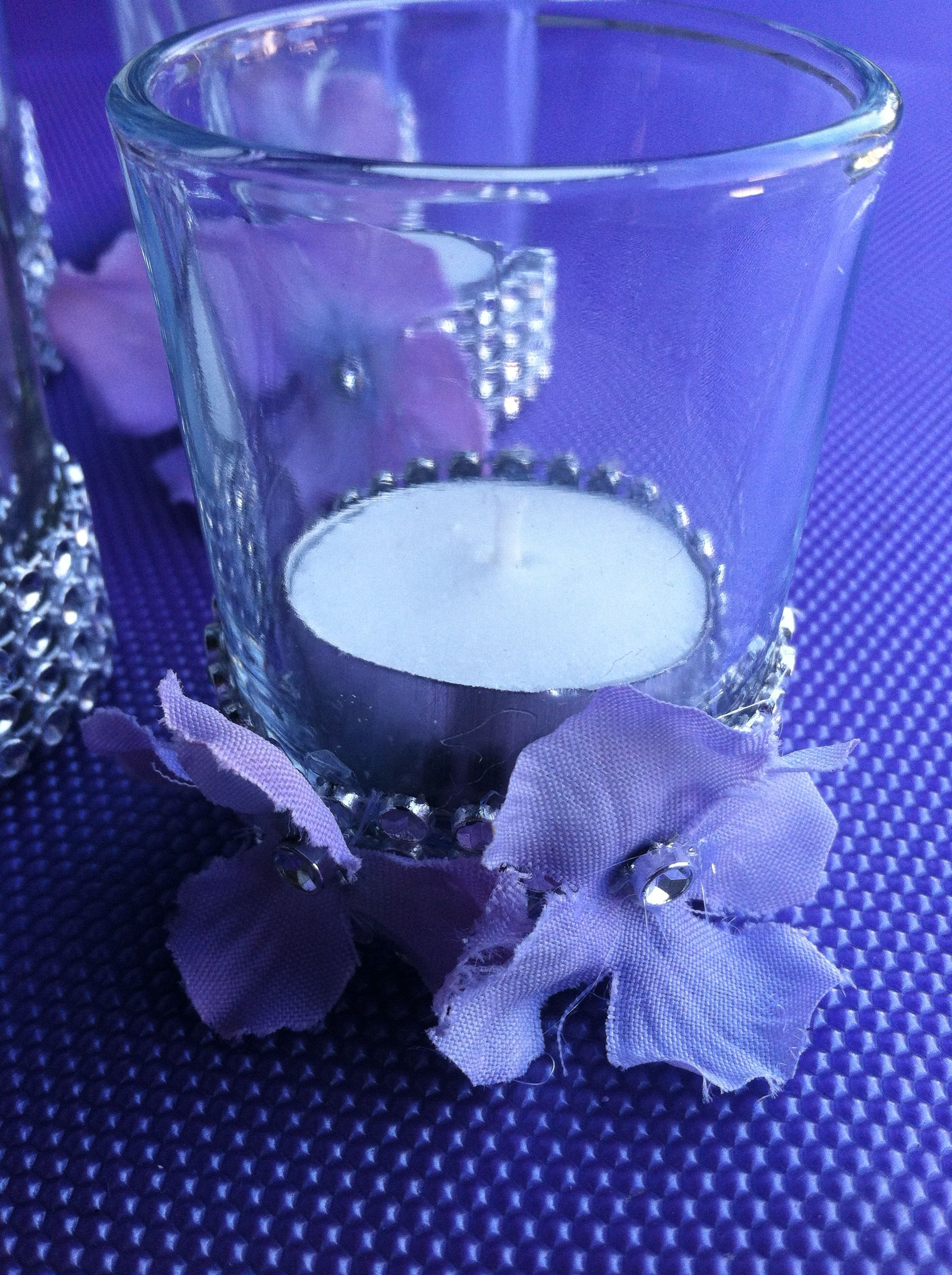 rhinestone and flower votive candles for backyard engagement party