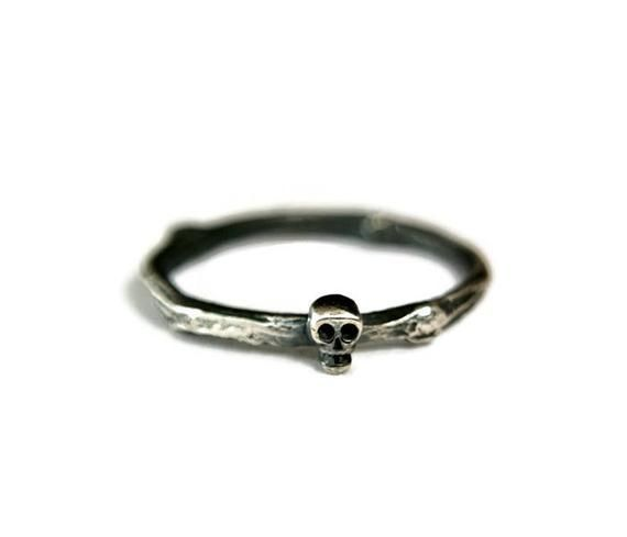 Sterling Silver Skull Ring Rustic Style Dainty Wedding Band | Etsy