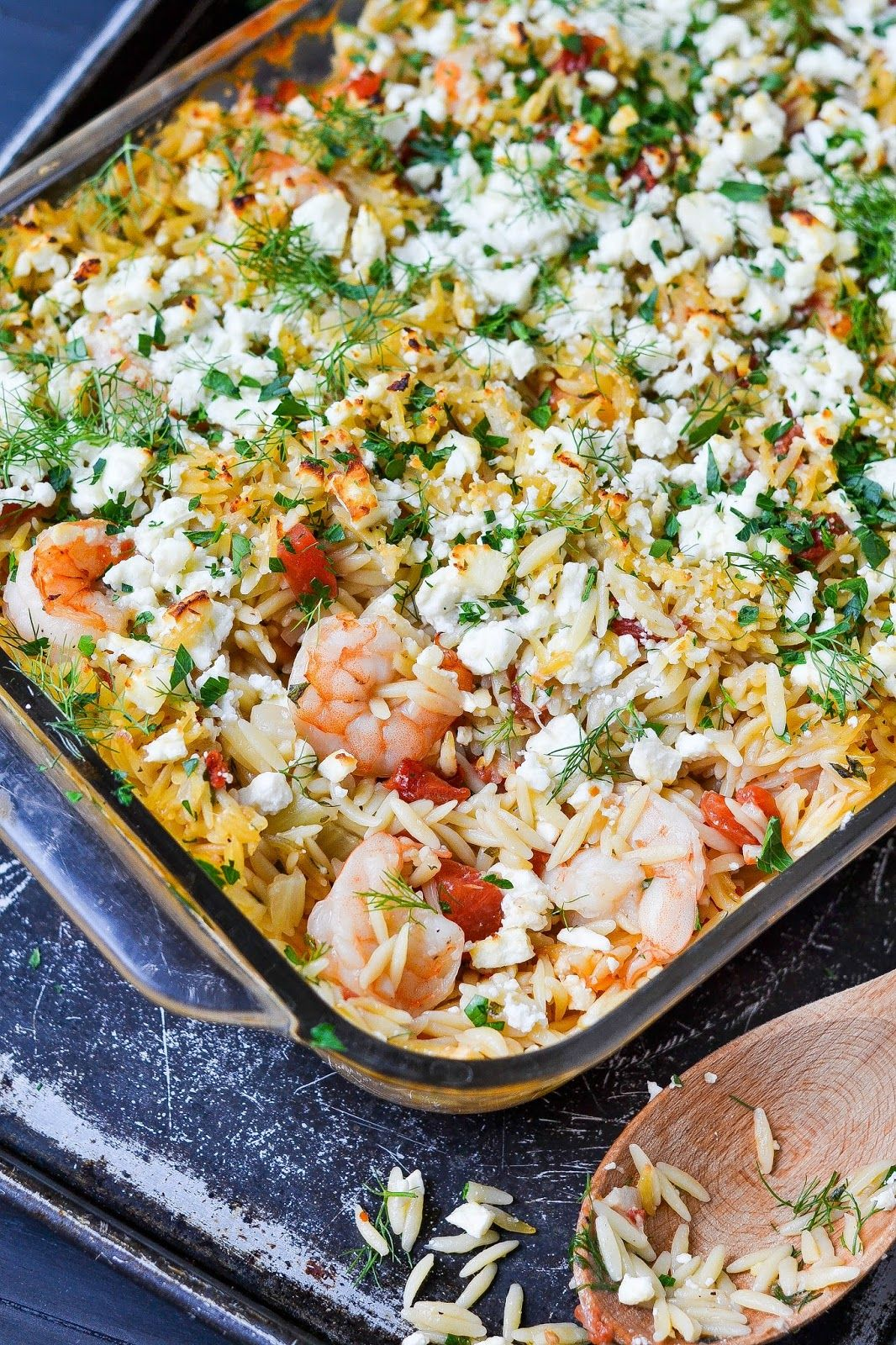 Apples and Sparkle: Shrimp & Orzo with Fennel, Tomatoes & Feta