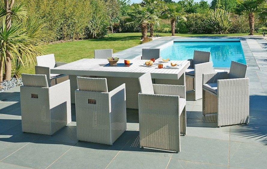 Salon de jardin Mediterranée résine tressée gris 1 table + 8 ...