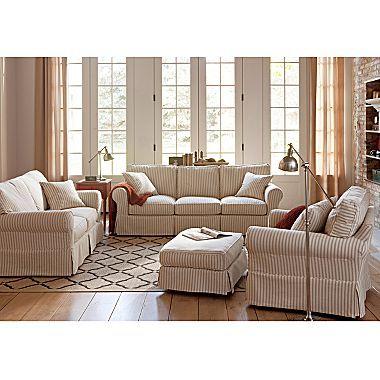 Linden Street Friday Stripe Slipcovered Sofa Group