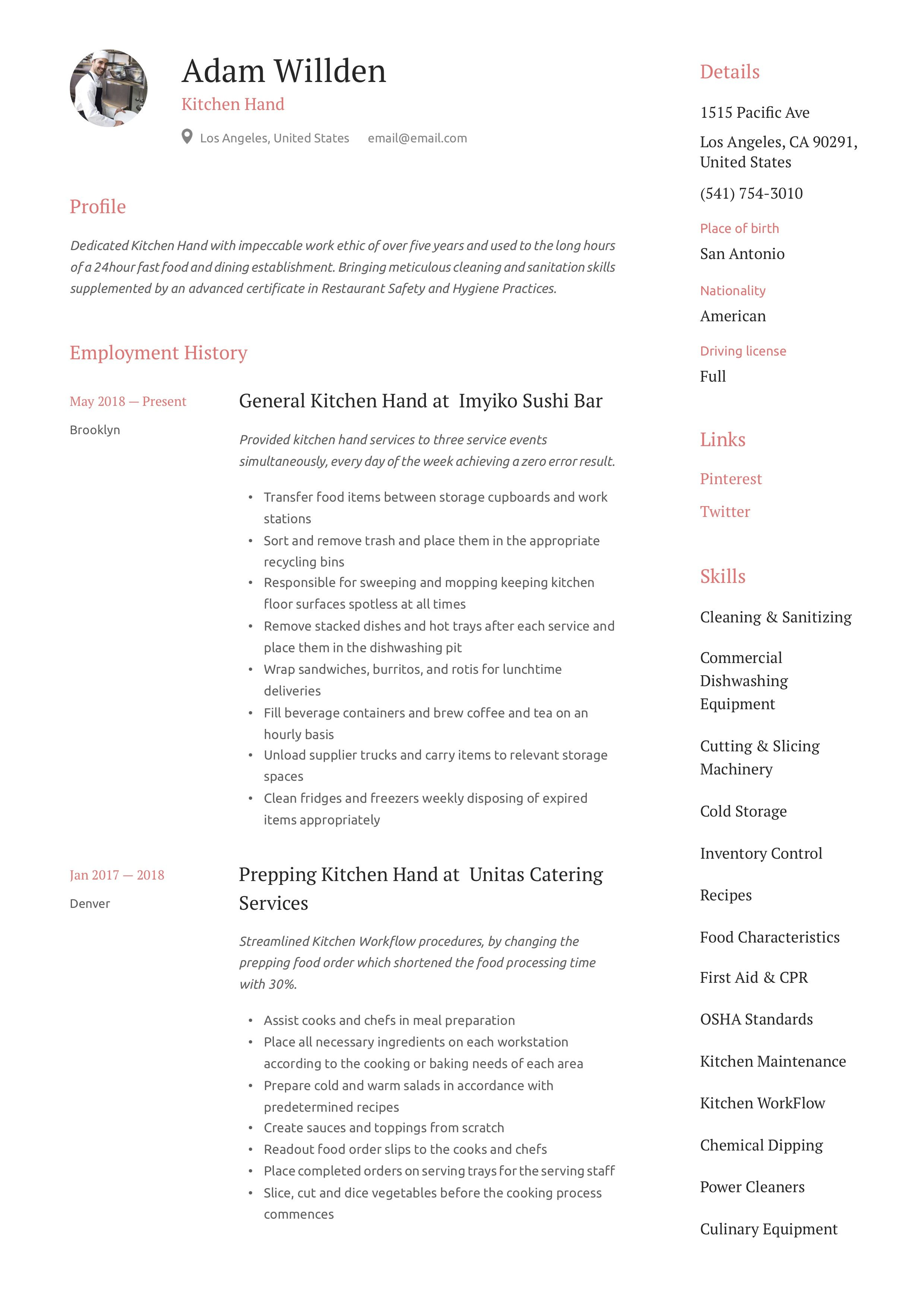 Kitchen hand resume format are there any free essay contests