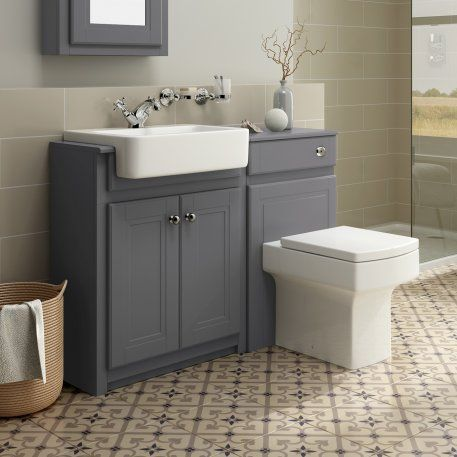 1167mm Cambridge Midnight Grey Combined Vanity Unit Belfort Pan Bathroom Furniture Storage Bathroom Sink Units Grey Bathroom Furniture