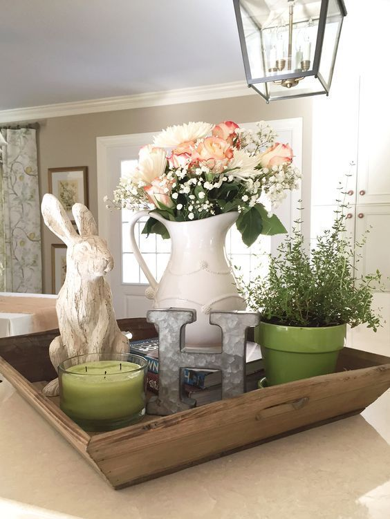 Spring Rabbit And Monogram Fresh Flowers Greens And Whites And Pinks Diy Spring Home Decor Ideas