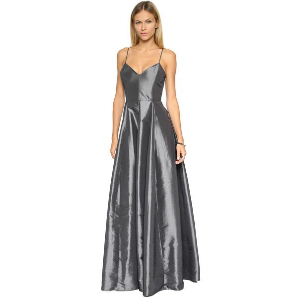 Halston Heritage Spaghetti Strap Structured Gown ($605) ❤ liked on ...