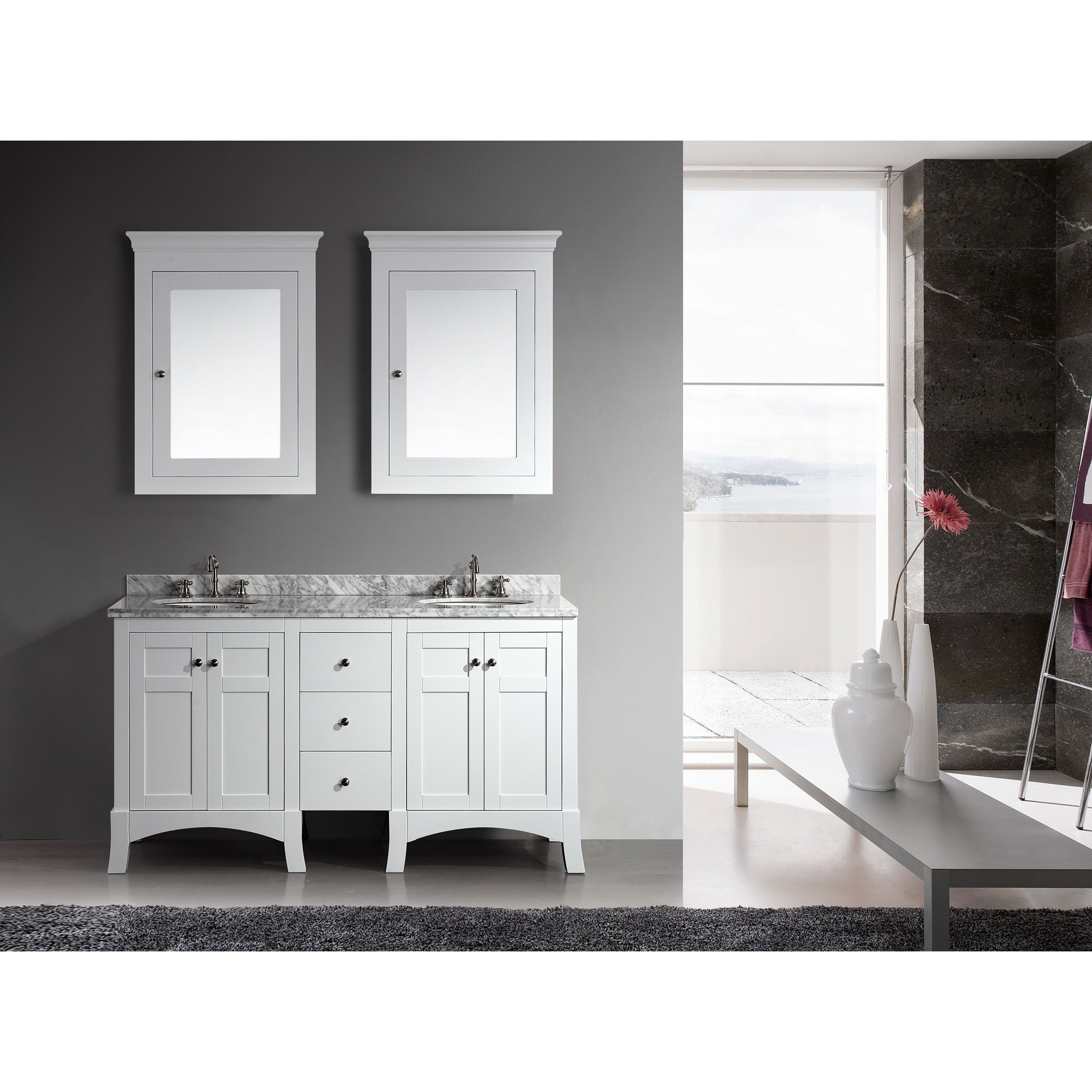 Double sink white bathroom vanities eviva hampton inch white bathroom vanity set with white carrera