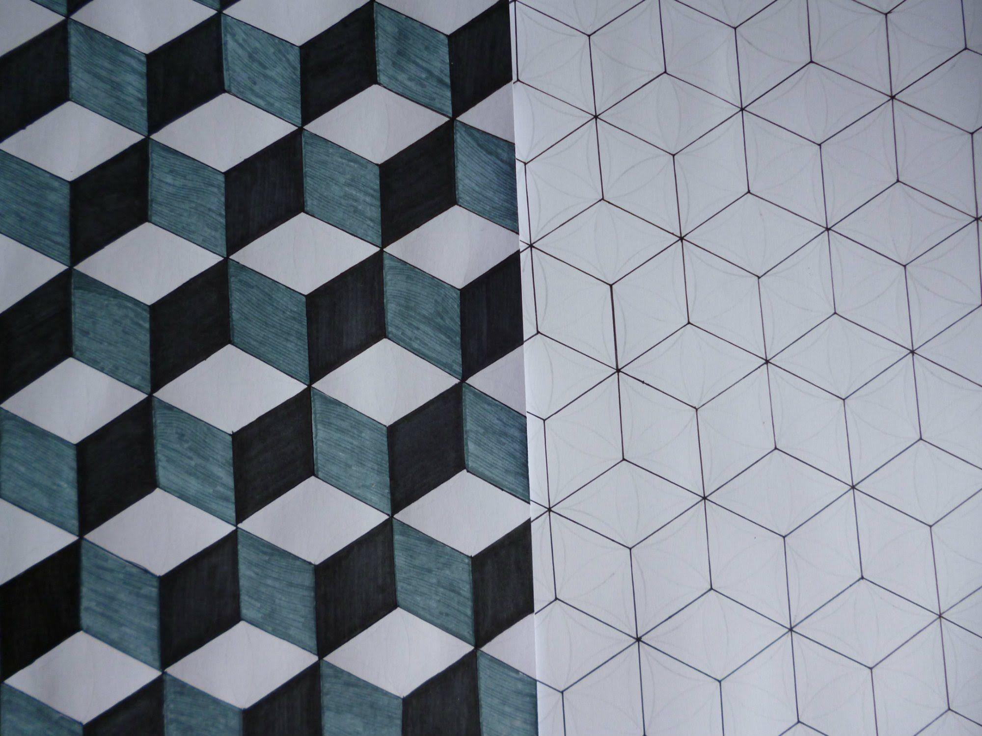 Diy Cube Pattern Art Cube Tessellation Art Geometric Art