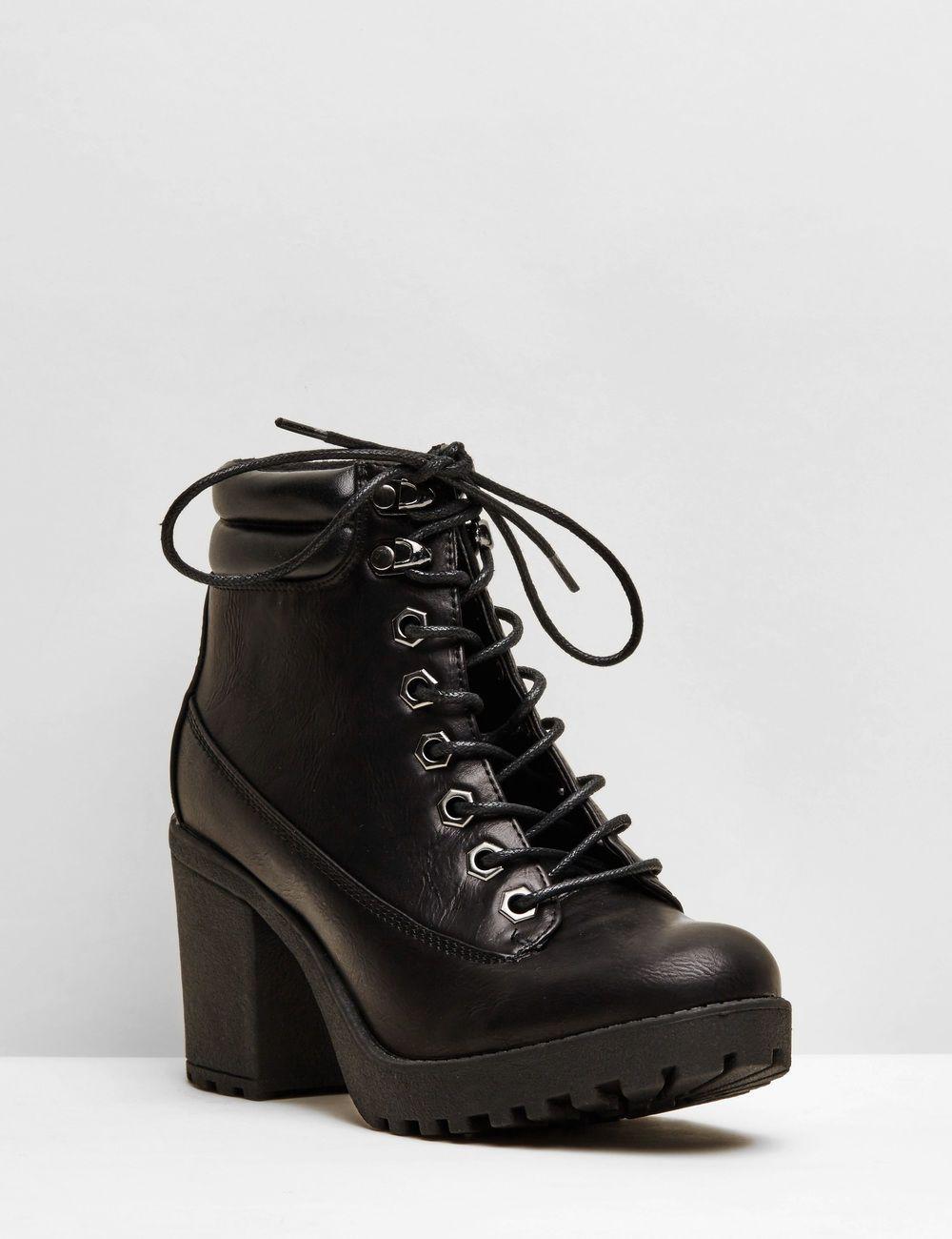 bottines talons à lacets noires femme • jennyfer | tenues