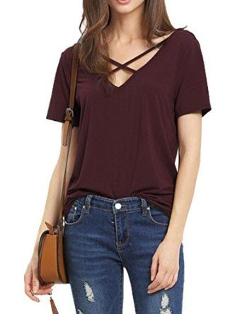518958957f1c9 Haola Women s Summer Cross Front Tops Deep V Neck Casual Teen Girls Tees T  Shirts at Amazon Women s Clothing store