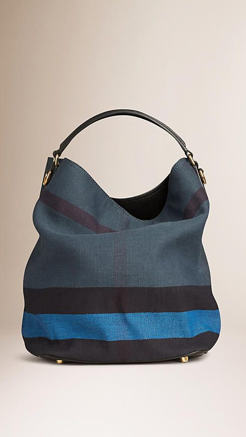 43ecb13220c Ultramarine blue The Medium Ashby in Overdyed Canvas Check and Leather- Burberry