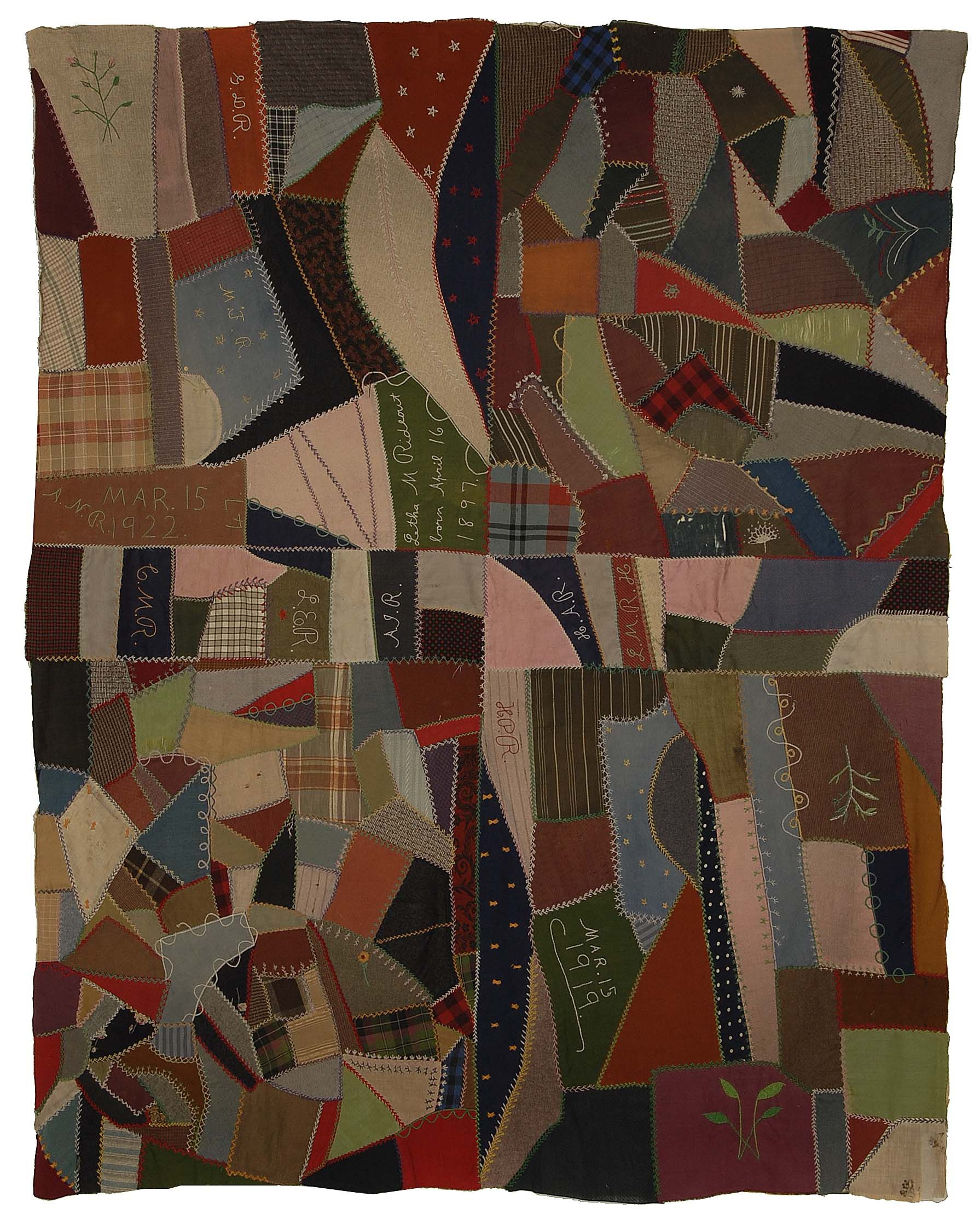Wool Crazy Quilt, by Angie Naomi Rideout, circa 1922. Rocky ... : rocky mountain quilt museum - Adamdwight.com