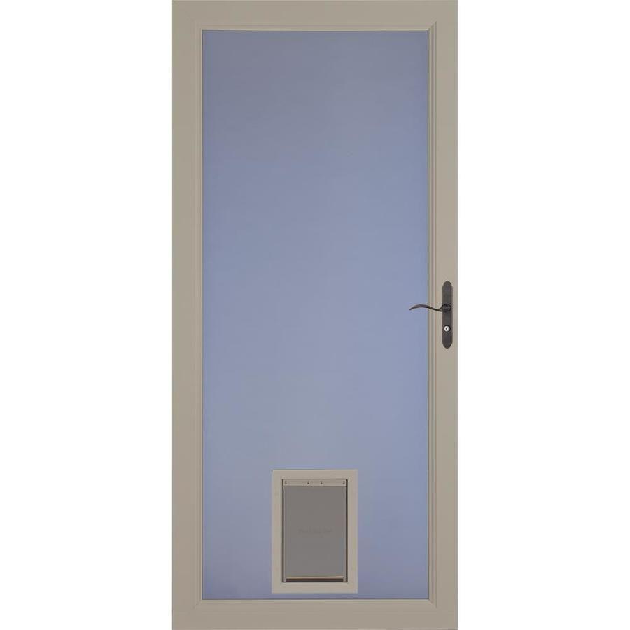 Larson Signature Pet Door Sandstone Full View Aluminum Storm Door Common 36 In X 81 In Actual 35 75 In X 79 75 In 1 In 2020 Aluminum Storm Doors Tall Cabinet