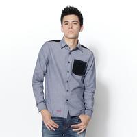 【9折優惠↘】EDWIN 牛津拼接剪裁 長袖襯衫-男款 丈青色