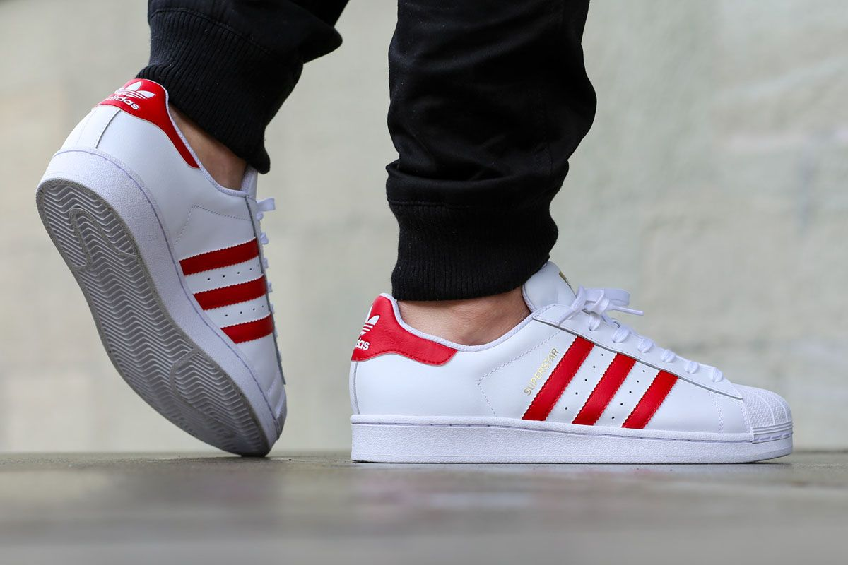 Adidas Superstar On Feet Red