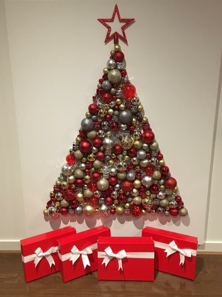 Diy Bauble Canvas Christmas Tree Christmas Diy Christmas Tree Art Christmas Decorations