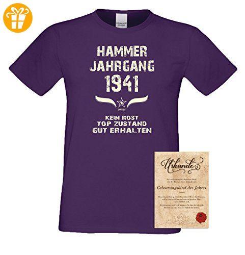 Geschenk Set : Geschenkidee Geburtstag ::: Hammer Jahrgang 1951 ::: Herren T -Shirt & Urkunde Geburtstagskind des Jahres für Ihren Papa Vater Opa  Großvater ...