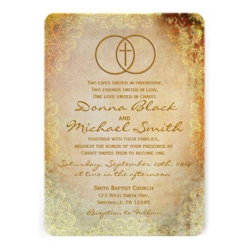 Christian Wording For Wedding Invitations: Encircled Cross Religious Wedding Invitations