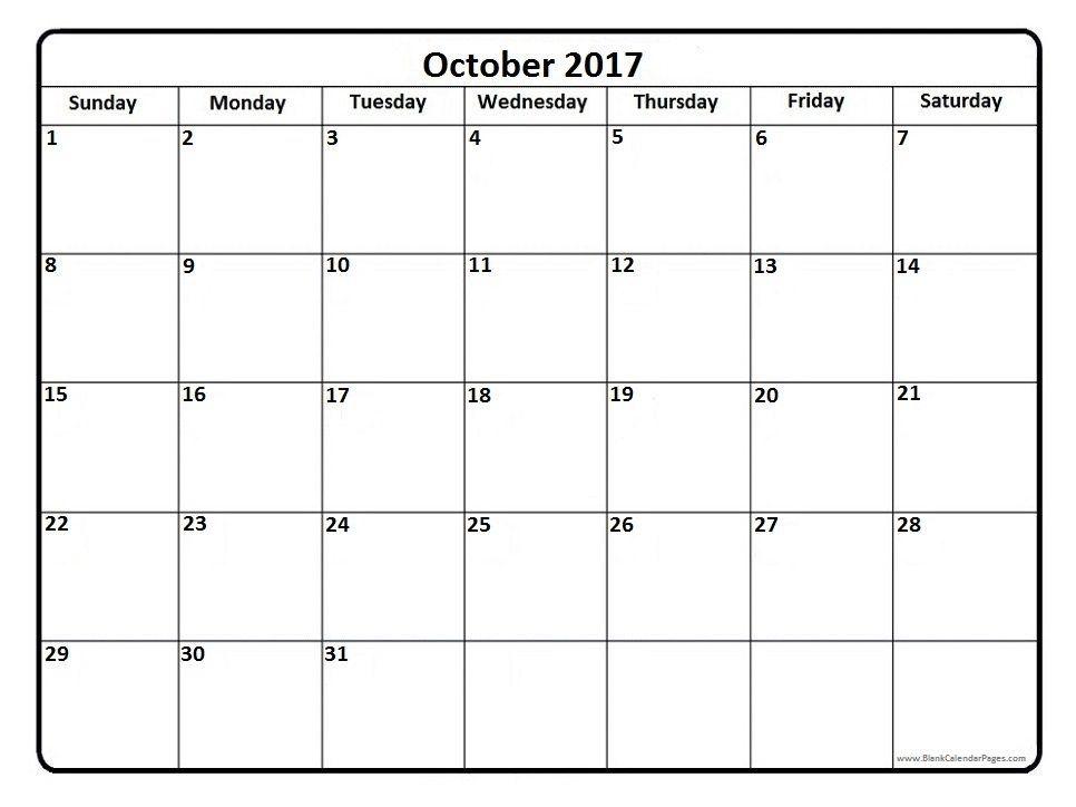 October 2017 Calendar Printable Template With Holidays Calendar