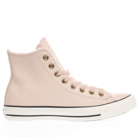 converse pale pink leather faux fur lined hi trainers
