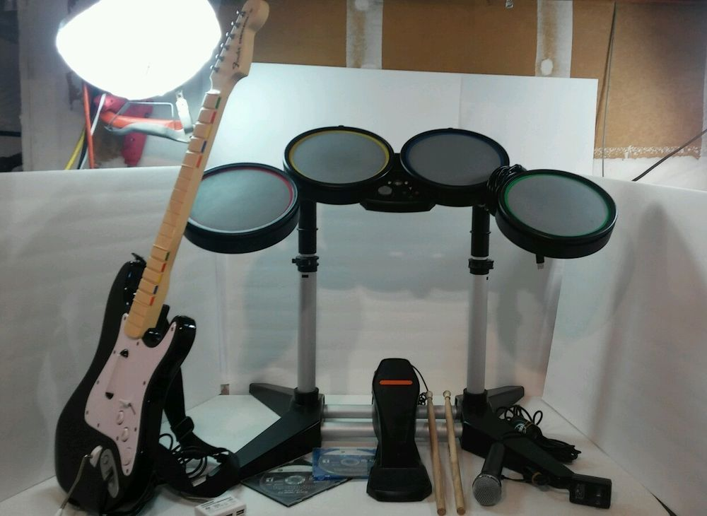 Xbox 360 rock band bundle drum set stratocaster guitar microphone xbox 360 rock band bundle drum set stratocaster guitar microphone pedal games publicscrutiny Gallery
