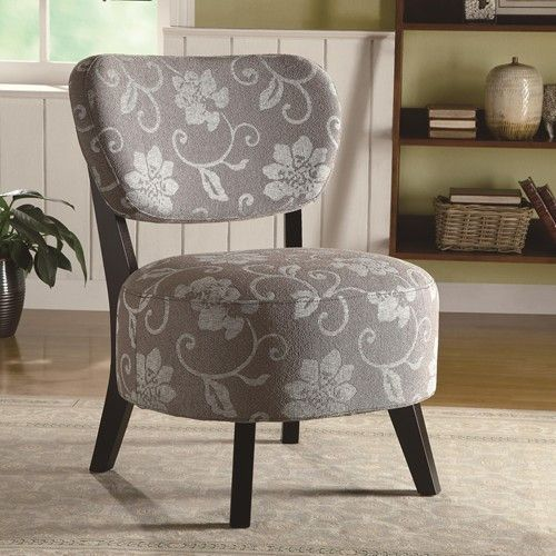 Best Accent Seating Gray Floral Accent Chair W Padded Seat 400 x 300