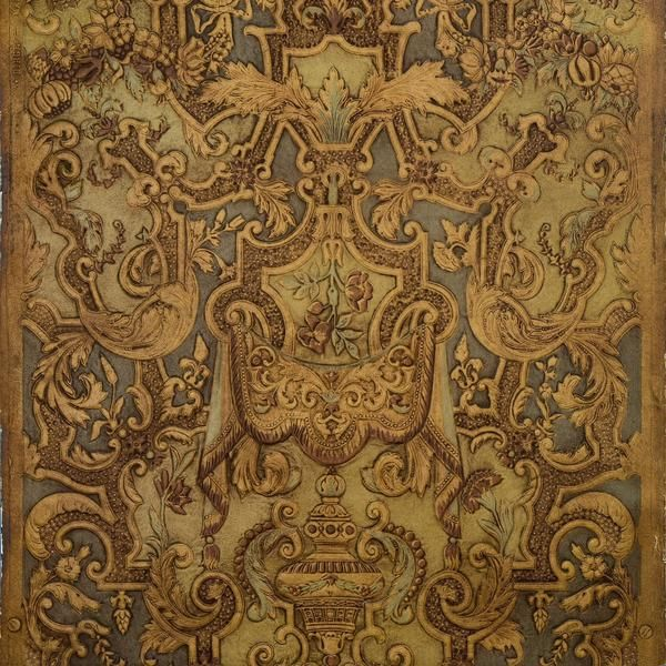 Spanish Embossed Leather - Antique Wallpaper Remnant in 2019