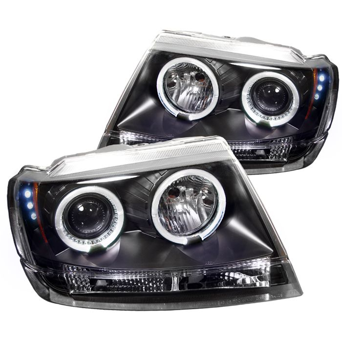 99 04 Jeep Grand Cherokee Halo Projector Headlights Black