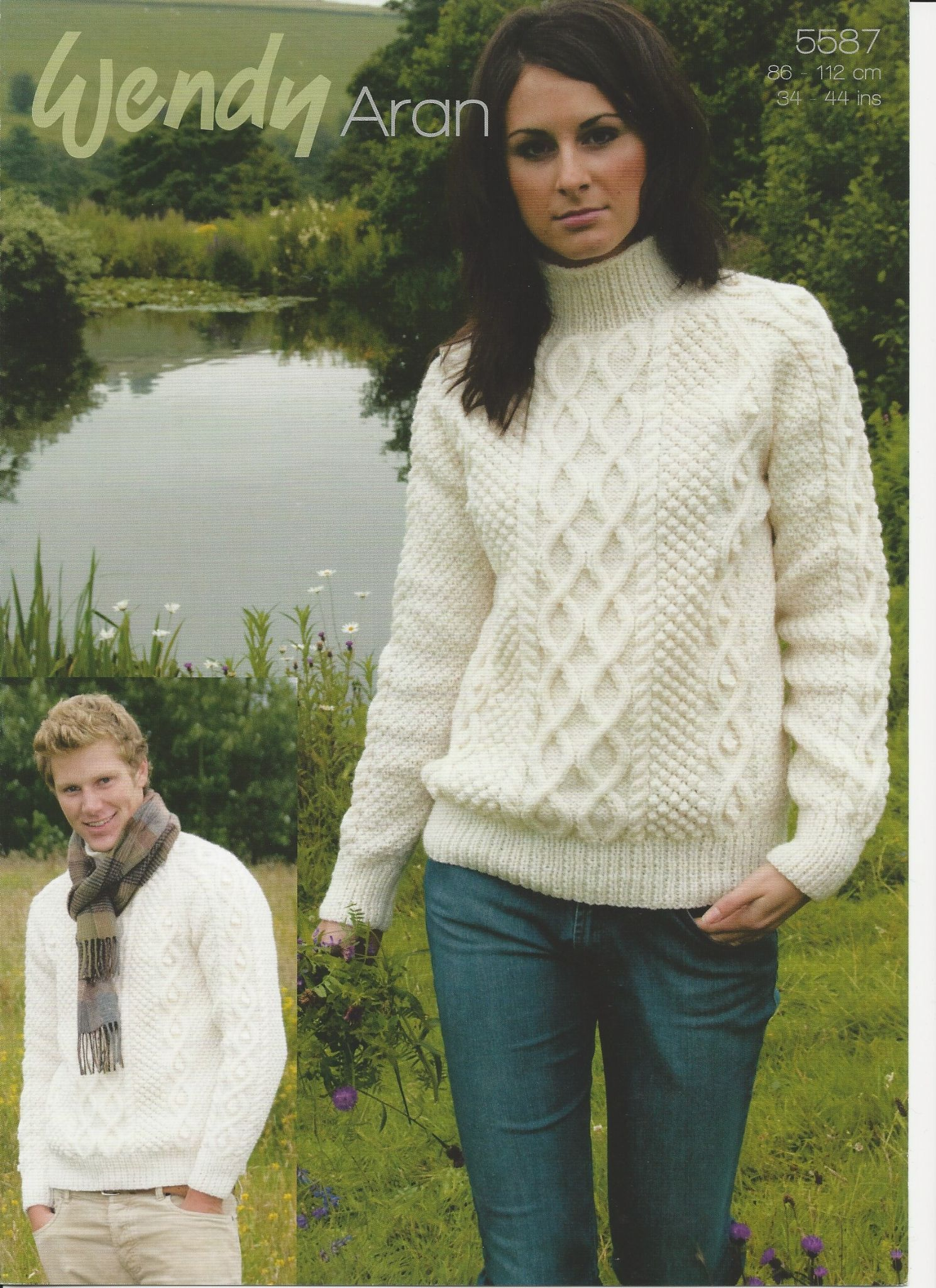 Wendy Mens & Ladies Double Cable Sweater Aran Knitting Pattern (5587)