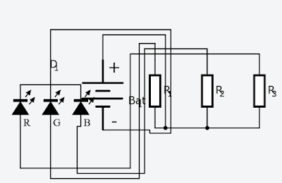 Practicas de electrónica: Jugando con el diodo LED RGB in