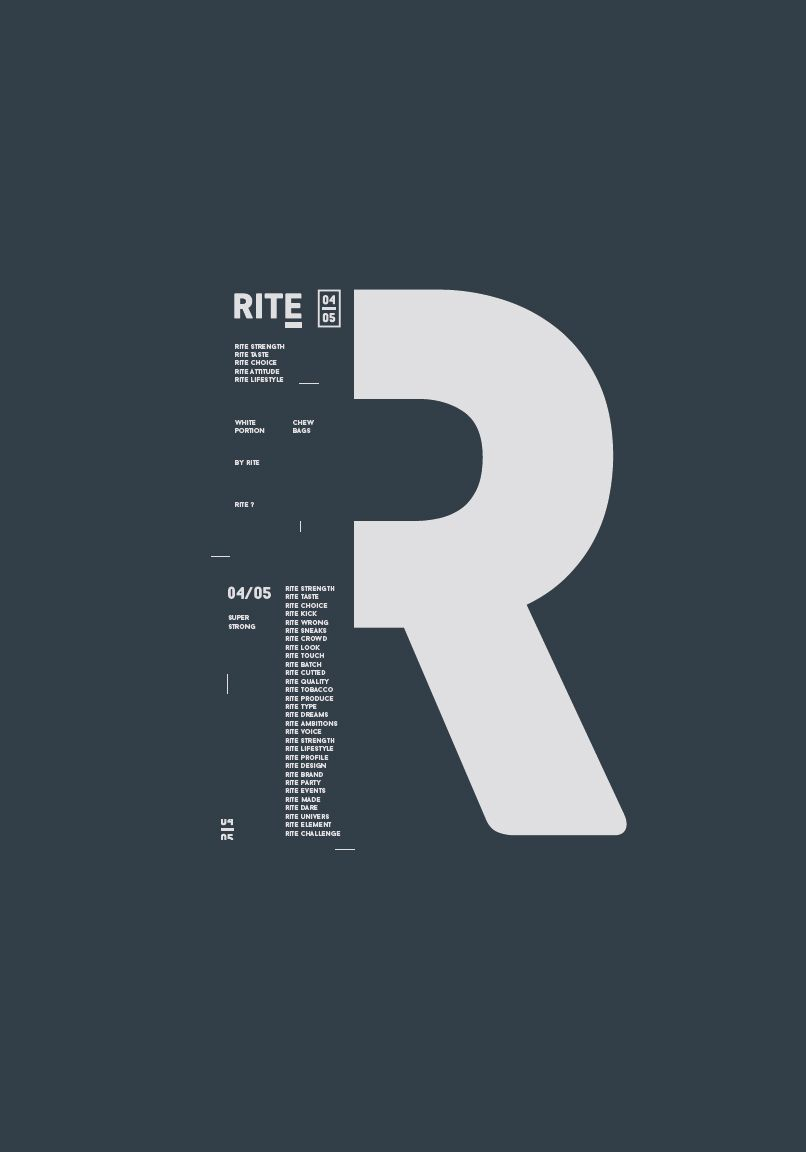 RITE - Typography #posterdesigns Typographic Poster for RITE - Industrial minimalism | Designed by ON!AD Graphic Design Agency, Denmark.