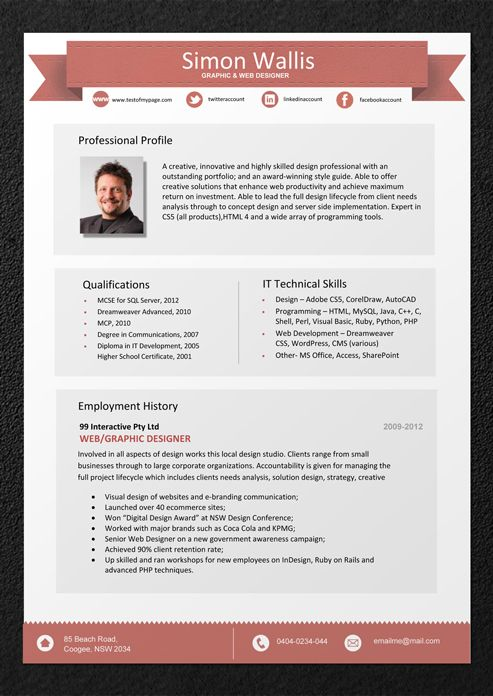 Creative Resume Template For Word Us Letter By Landeddesignstudio