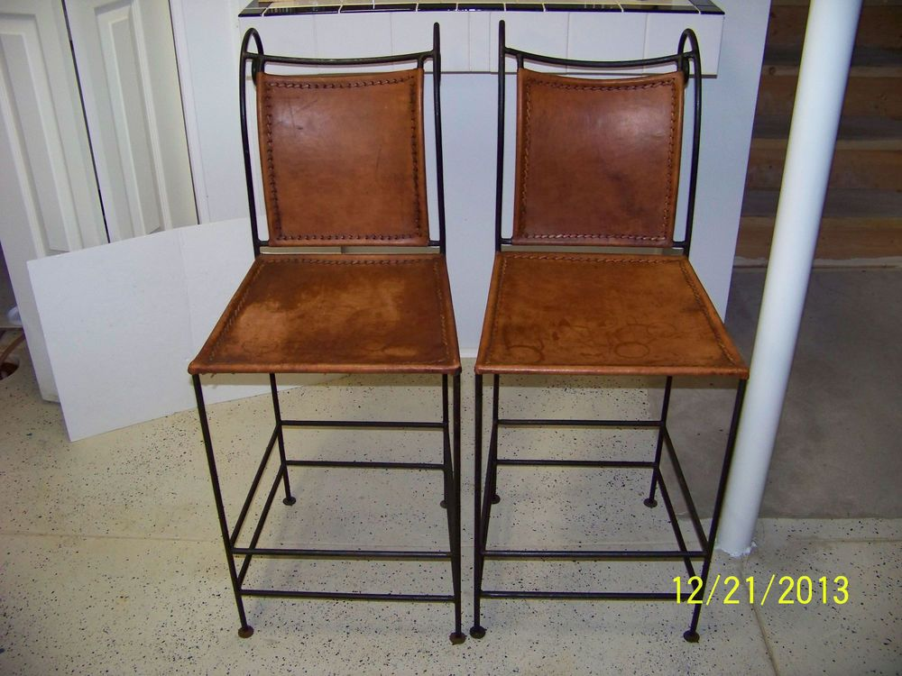 Wrought Iron And Leather Bar Stools Set