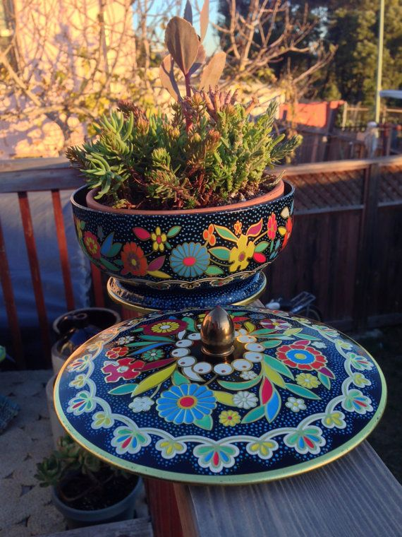 Vintage 1970's English Candy Tin Floral Embossed by A2ndLifeCactus, $9.50